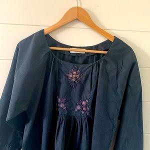 Megan Park navy embroidered blouse
